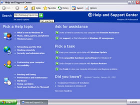 Windows XP Help System Screenshot in Silver Colour Scheme(Click to view full 90.9KB)